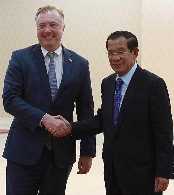 State Senator Ericksen with Cambodia Prime Minister Hun Sen.