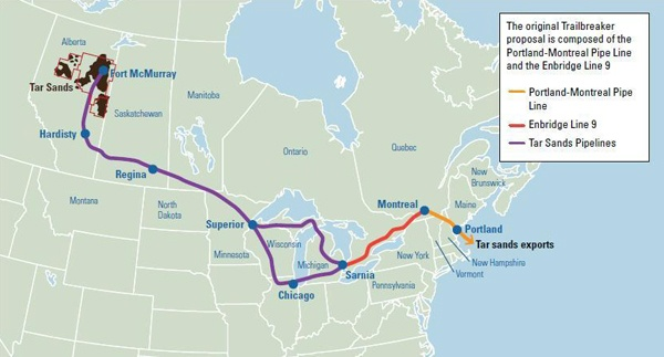 map of pipeline from the alberta canada oil sands to montreal and the old pipeline to portland maine