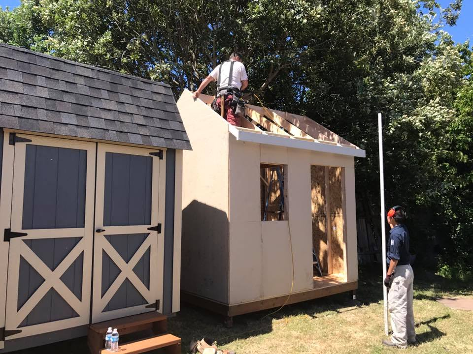 Tiny Homes for the Homeless. Built by Homes NOW! Volunteers